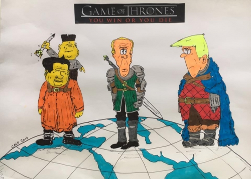 Game of thrones, GOT, Trump, Poutine, Xijiping, Kim Jung, Chine, USA, Russie